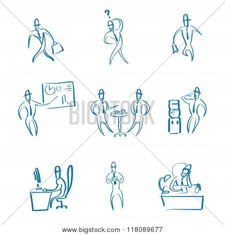 Business Man Working Set Daily Routine Hand Draw