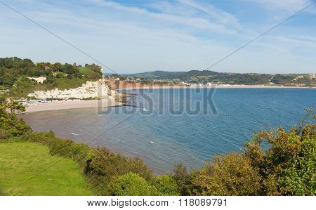 View of Beer and Seaton beaches and Lyme Bay in Devon England UK from the South West Coast Path