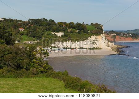 Elevated view of Beer beach Devon England UK English coastal village on the Jurassic Coast