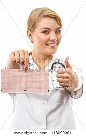 Woman Doctor With Stethoscope Holding Electrocardiogram Graph, Healthcare Concept