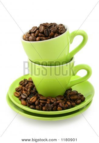 Cups And Coffee Beans (Clipping Path Included)