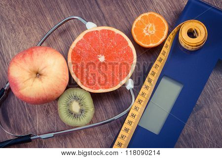 Vintage Photo, Electronic Bathroom Scale, Centimeter And Fresh Fruits With Stethoscope, Slimming And