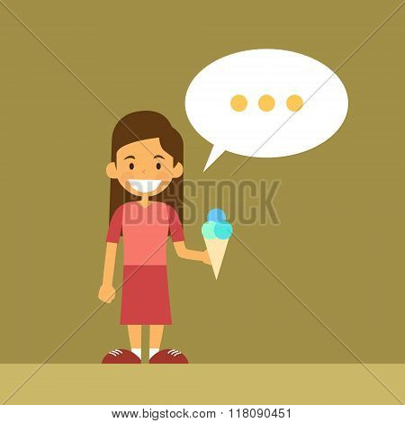 Small School Girl With Ice Cream Chat Box