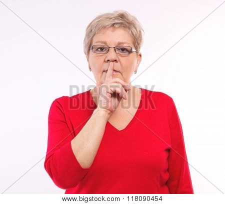 Elderly Woman Showing Hand Silence Sign, Emotions In Old Age