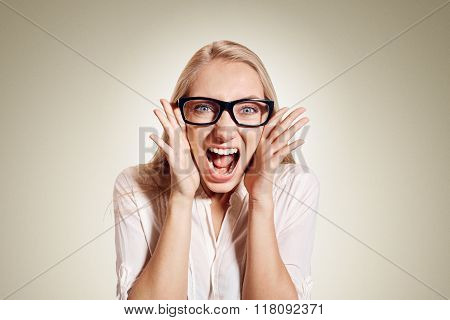 Surprised Excited Happy Screaming Woman Isolated. Cheerful Girl Winner Shocked Over Winning With Fun