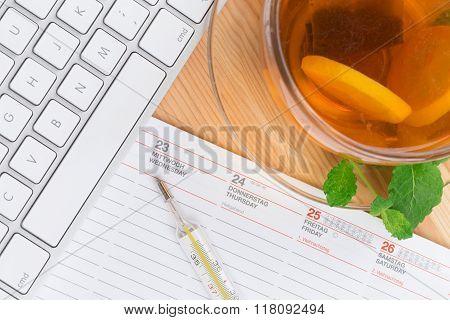 Lemon Tea With Mercury Thermometer