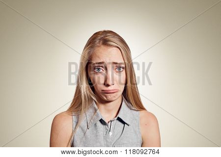 Closeup Portrait Stressed Frustrated Woman Crying Or Weep Having Temper Tantrum Isolated On Wall Bac