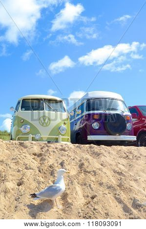 Camper vans at the beach