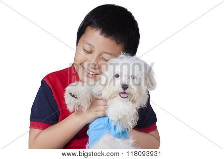 Boy Embraces A Maltese Dog In Studio