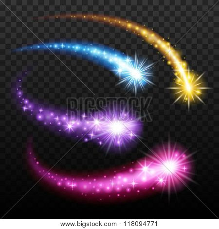 Light effect comets set vector illustration.