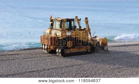 Bulldozer On The Beach Of Nice