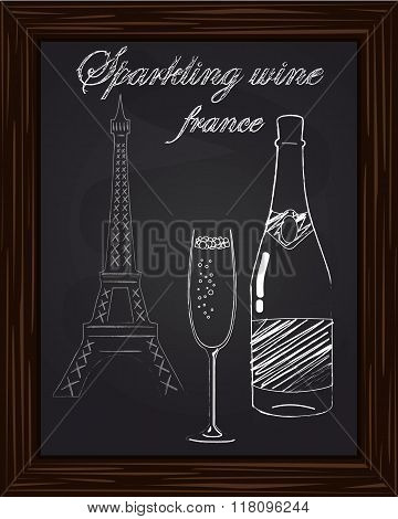 A Nice Glass With Foam And A Bottle Of Champagne On The Background Eifel Tower