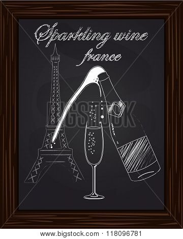A Nice Glass And A Bottle Of Champagne With Foam On The Background Eifel Tower