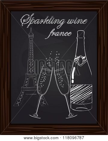 Beautiful Two Glasses And A Bottle Of Champagne On The Background Eifel Tower