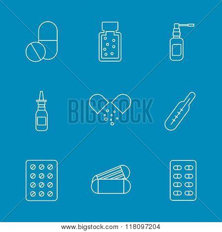 Set flat medical pills