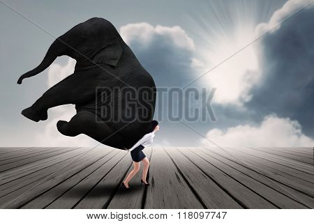 Portrait Of Businesswoman Lifting Heavy Elephant