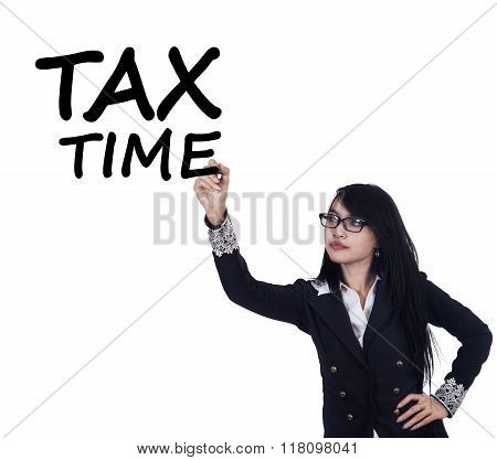 Woman Remind The Time To Pay Tax Duty