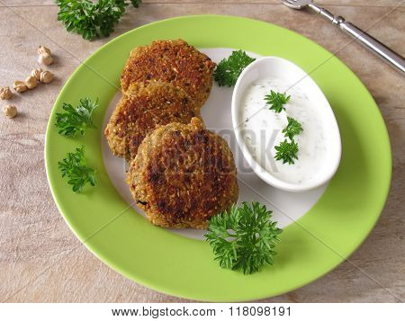 Falafel burger with herb yogurt