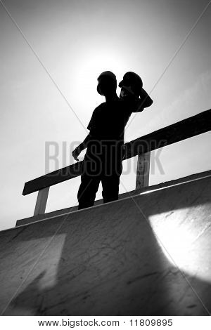 Skateboarding Teen Silhouette