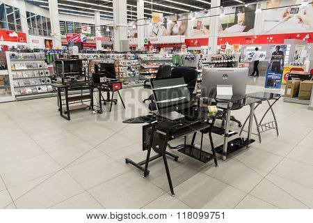 Khimki, Russia - February 13. 2016. Interior Eldorado is a large chain stores selling electronics