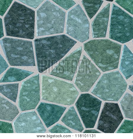 Gray Blue Green Marble Irregular Plastic Stony Mosaic Seamless Pattern Texture Background
