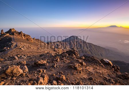 Mount Meru & Kilimanjaro at sunrise