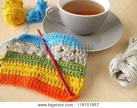 Crochet work and a cup of tea