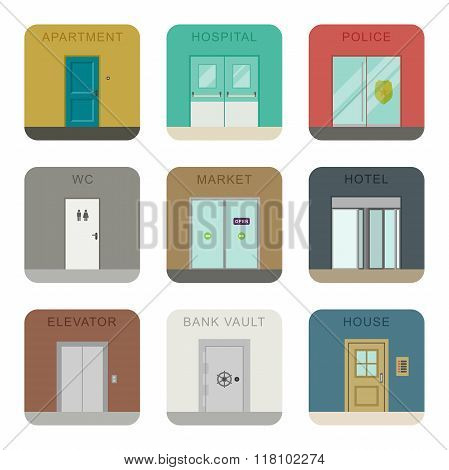 Doors icons set.