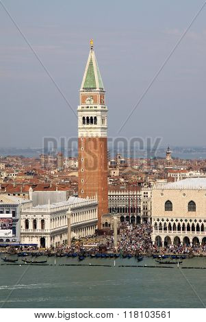 Venice, Italy - September 04, 2012:  View Of Doge's Palace, Campanile On Piazza Di San Marco And Gra