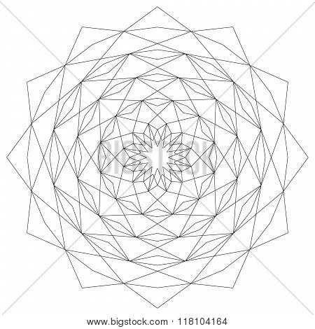 Vector Adult Coloring Book Page Circular Astral Geometric Pattern Mandala Star Black And White