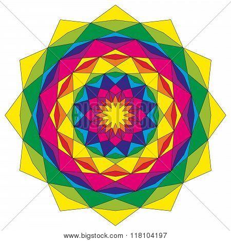 Circular Astral Geometric Pattern Mandala Colorful Colored Mystic