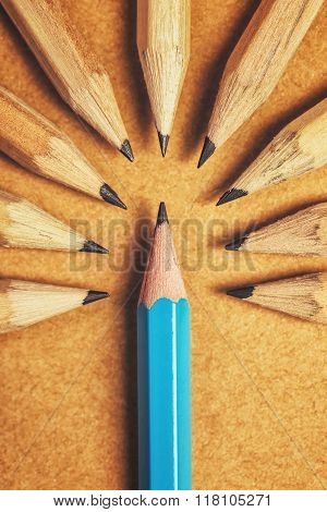 Being Different Concept With Wood Pencils On Desk