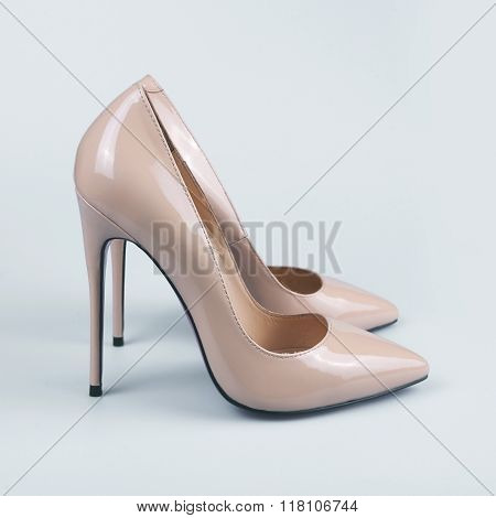 Pair Of Beige Women's High-heeled Shoes