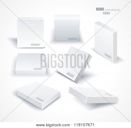 Set Blank White Boxes In Different Planes With Shadows Isolated On White.