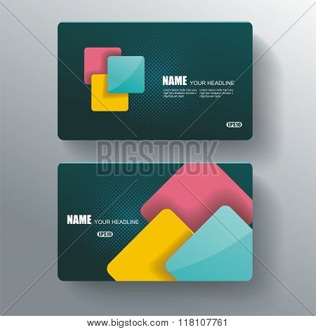 Business Card Template, Blue Pattern Vector Design