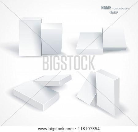 Set Blank White Boxes Isolated On White