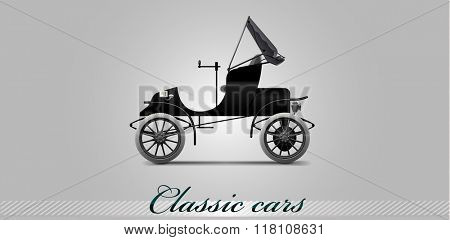 NOVI SAD, SERBIA - JANUARY 11, 2016: Vector illustration of Renault car, type C, 1899,  eps10, vector, illustrative editorial - stock vector