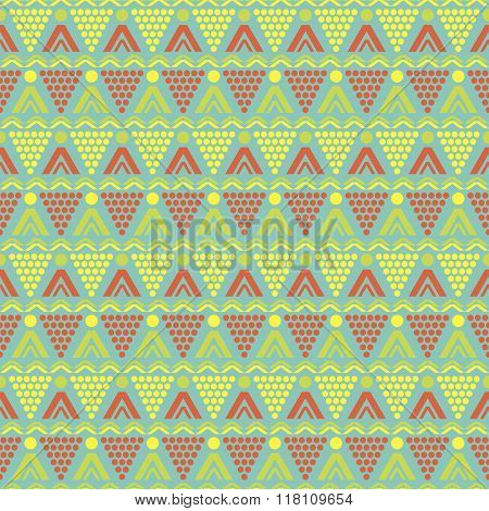 Seamless Summer Pattern Of Round And Triangular Shapes