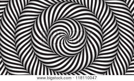 hypnotic background with black and white concentric circles in motion