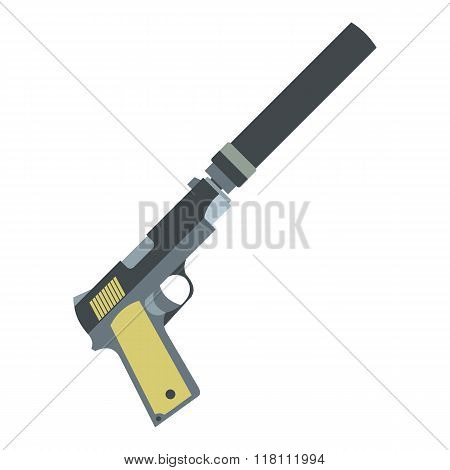 Pistol with silencer flat icon