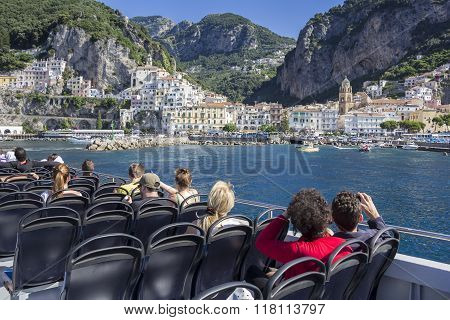 Tourists Dock In The Harbor Amalfi