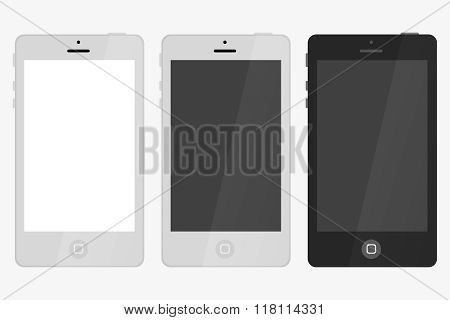 Three Smart Phone With Blank Screen Isolated