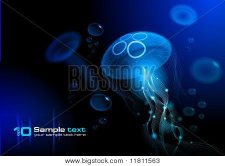 Medusas en el fondo negro
