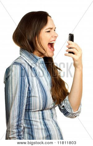 Angry And Frustrated  Business Woman Yelling At Her Phone