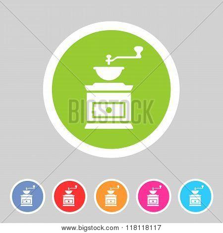 Coffee grinder mill icon flat web sign symbol logo label
