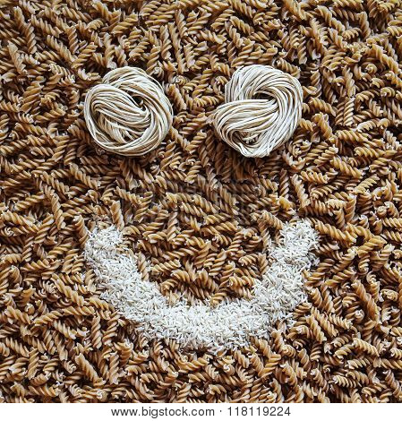 Pasta smile! Health food concept, background texture for healthy, happy lifestyle and nutritious fibre diet. Square composition.