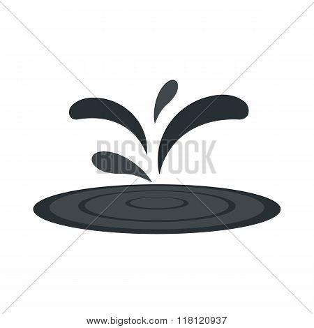 Black oil spill flat icon