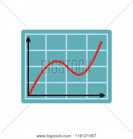 Screen arrow graph board flat icon