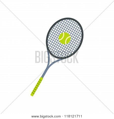 Tennis racquet and ball flat icon