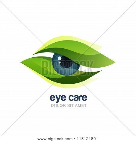 Vector Illustration Of Abstract Human Eye In Green Leaves Frame.